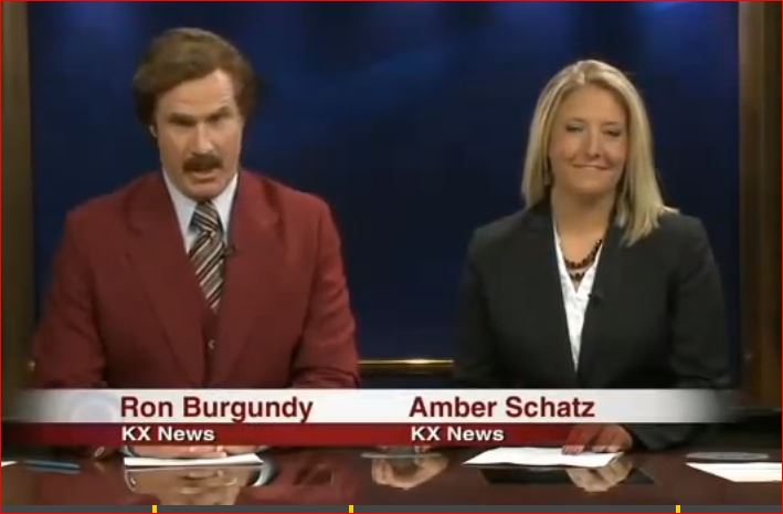 'Ron Burgundy' made a guest appearance on a local news program somewhere in a small town in North Dakota.